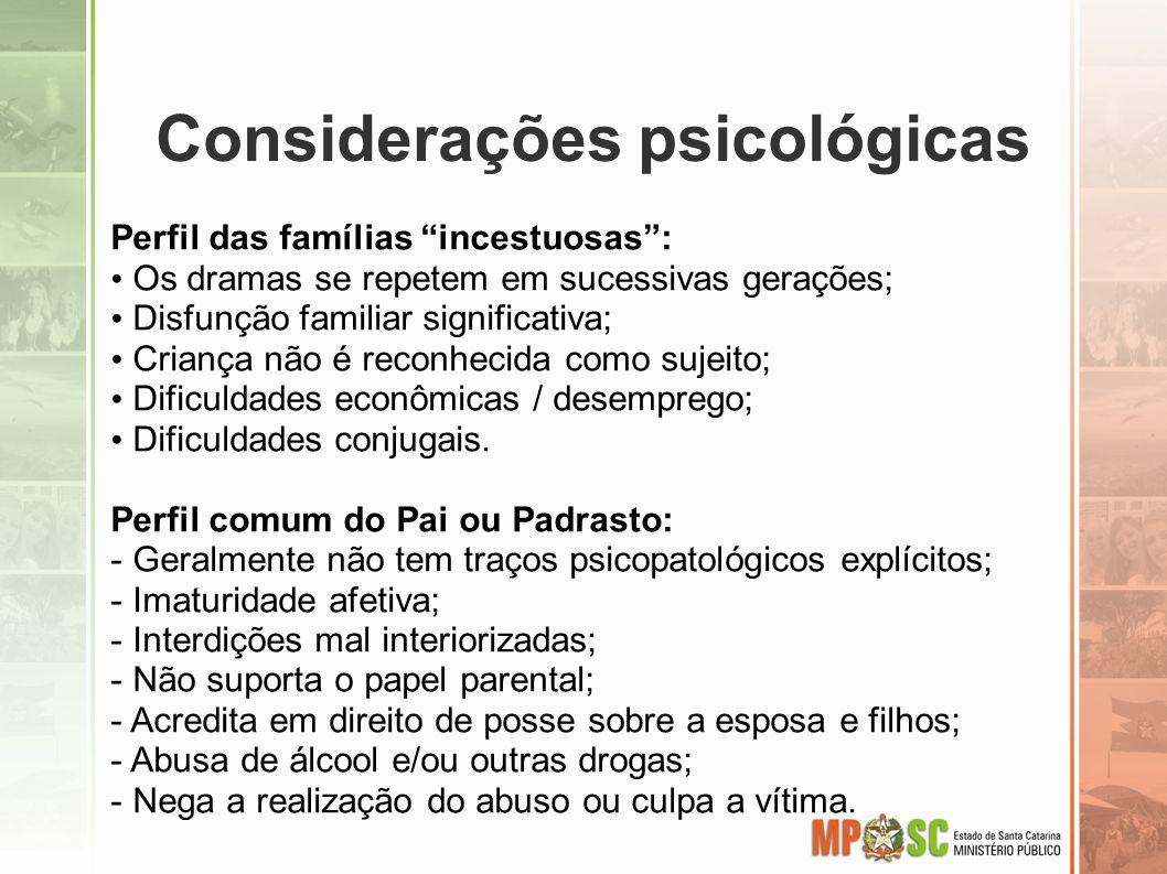 Considerações psicológicas