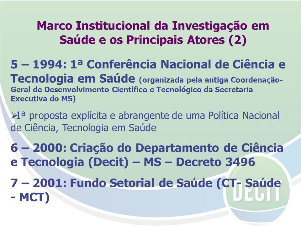 7 – 2001: Fundo Setorial de Saúde (CT- Saúde - MCT)