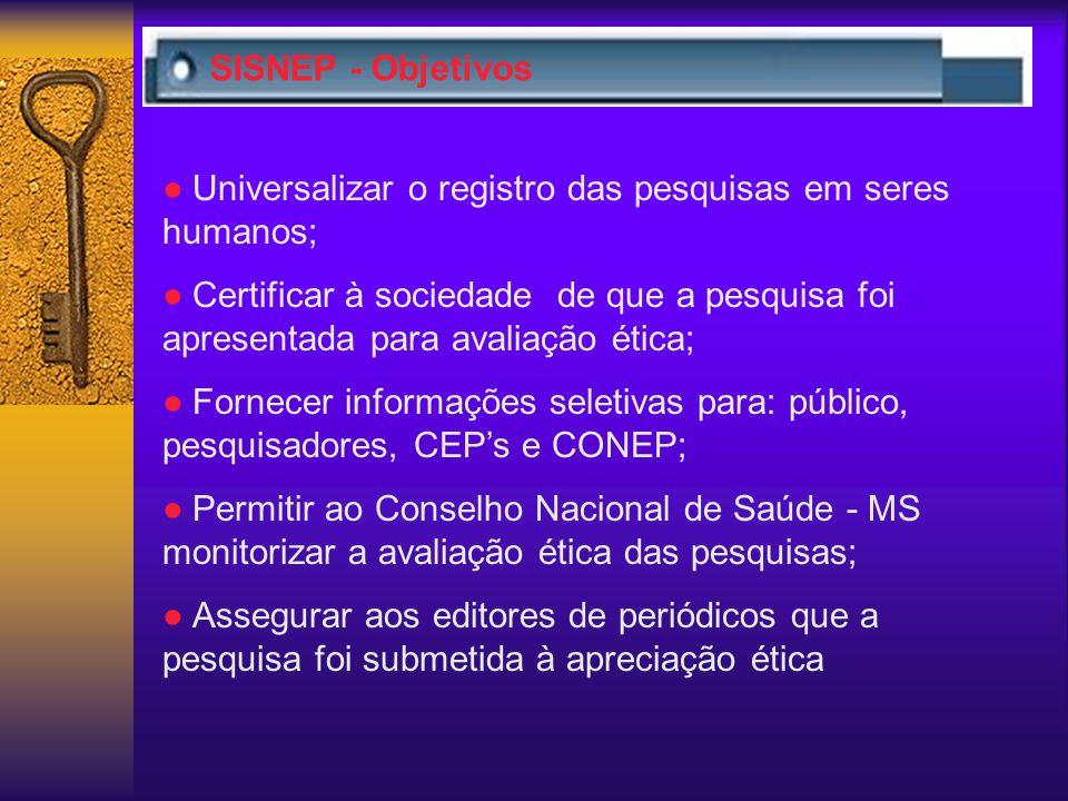 SISNEP - Objetivos ● Universalizar o registro das pesquisas em seres humanos;