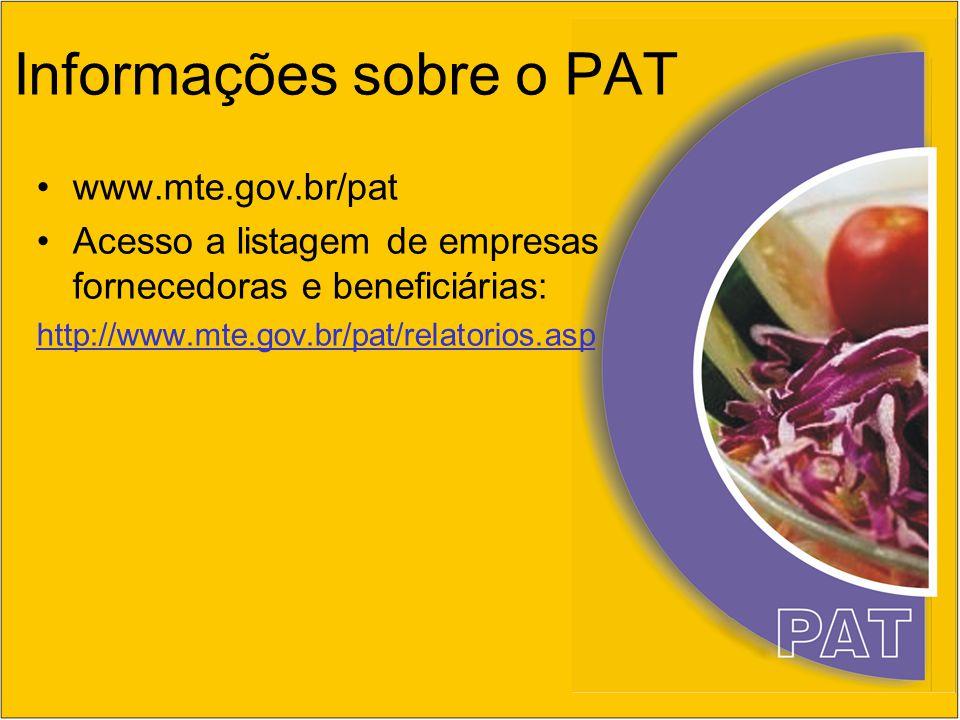 Informações sobre o PAT