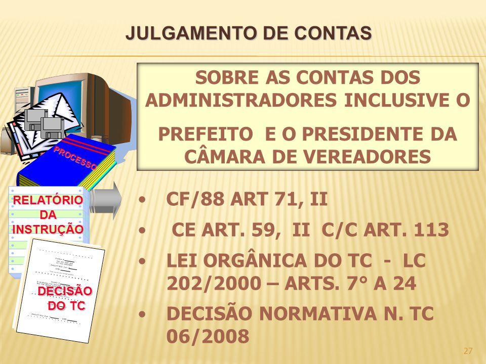 SOBRE AS CONTAS DOS ADMINISTRADORES INCLUSIVE O