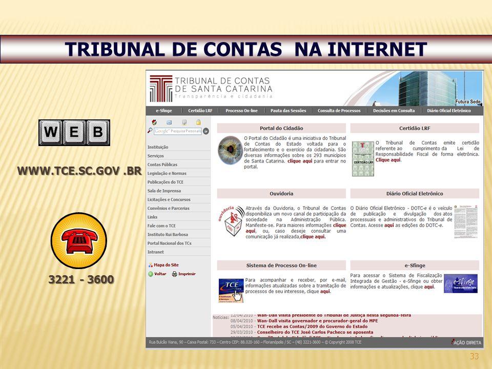 TRIBUNAL DE CONTAS NA INTERNET