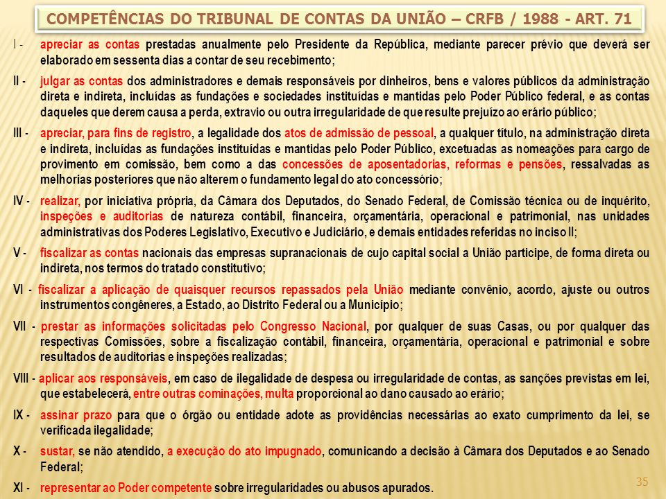 COMPETÊNCIAS DO TRIBUNAL DE CONTAS DA UNIÃO – CRFB / 1988 - ART. 71