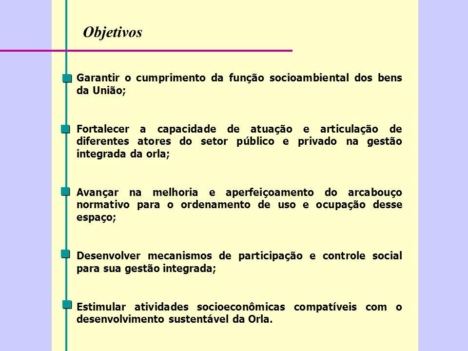 Objetivos Garantir o cumprimento da função socioambiental dos bens da União;