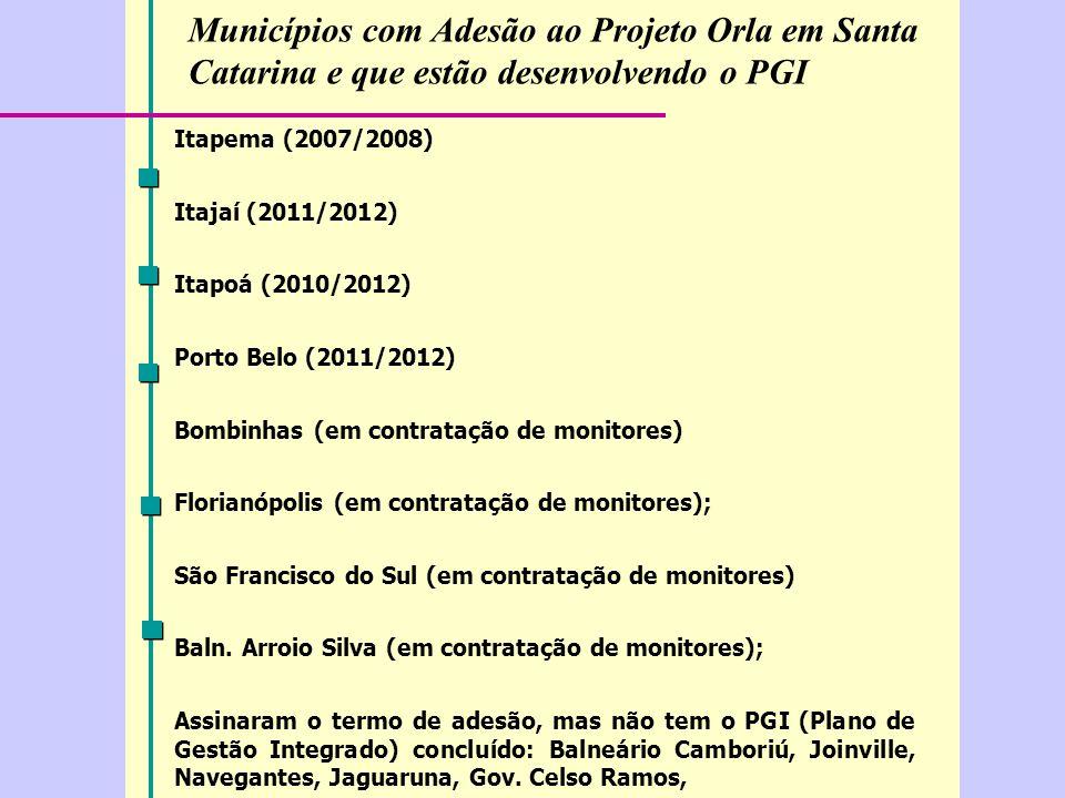 Municípios com Adesão ao Projeto Orla em Santa Catarina e que estão desenvolvendo o PGI