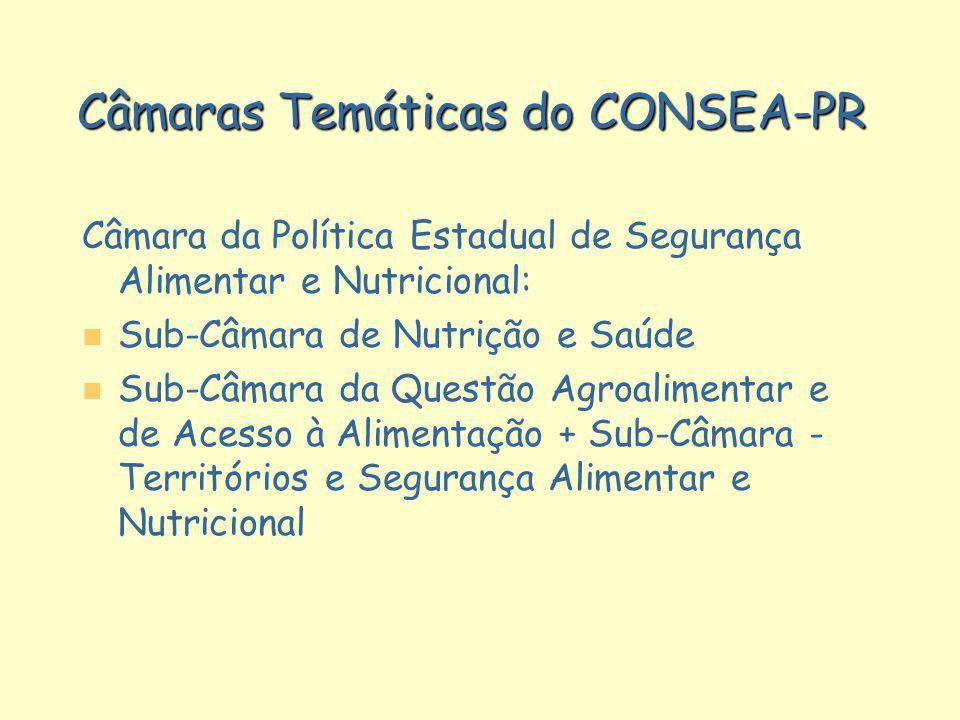 Câmaras Temáticas do CONSEA-PR