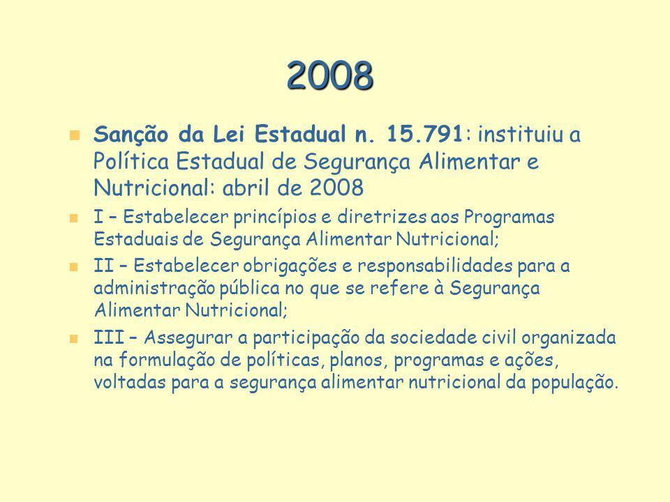 2008 Sanção da Lei Estadual n. 15.791: instituiu a Política Estadual de Segurança Alimentar e Nutricional: abril de 2008.
