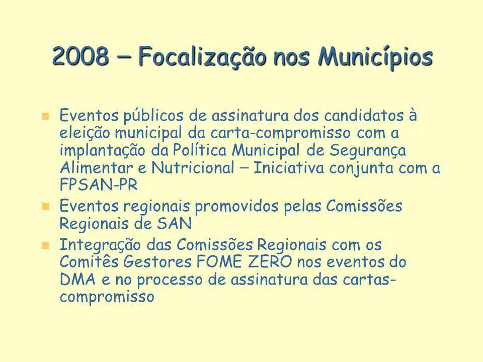 2008 – Focalização nos Municípios
