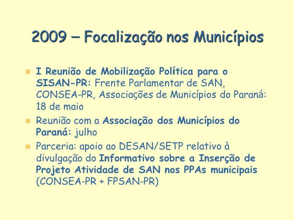 2009 – Focalização nos Municípios