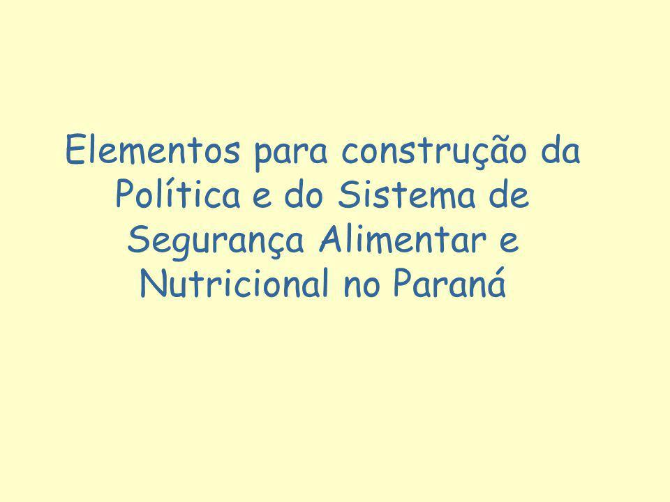 Elementos para construção da Política e do Sistema de Segurança Alimentar e Nutricional no Paraná