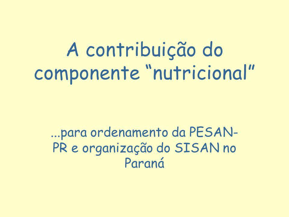 A contribuição do componente nutricional
