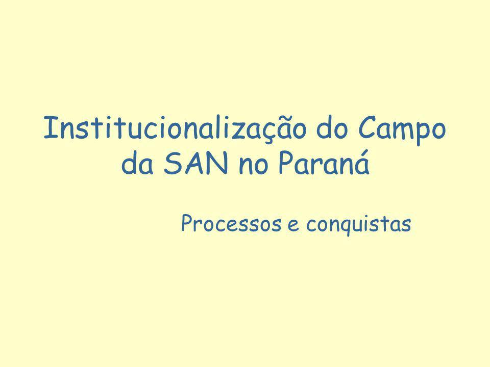 Institucionalização do Campo da SAN no Paraná