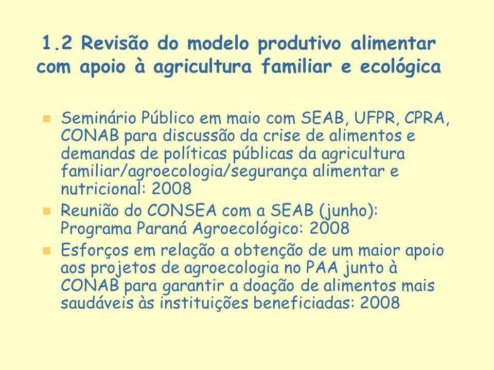 1.2 Revisão do modelo produtivo alimentar com apoio à agricultura familiar e ecológica
