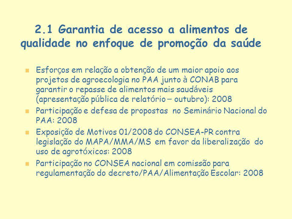 2.1 Garantia de acesso a alimentos de qualidade no enfoque de promoção da saúde
