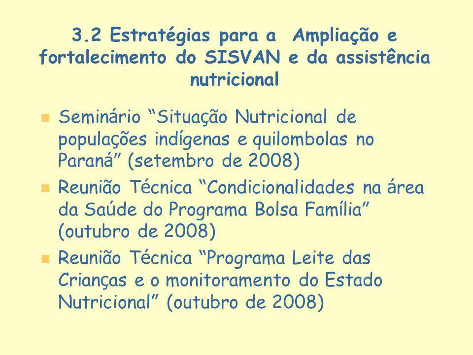 3.2 Estratégias para a Ampliação e fortalecimento do SISVAN e da assistência nutricional