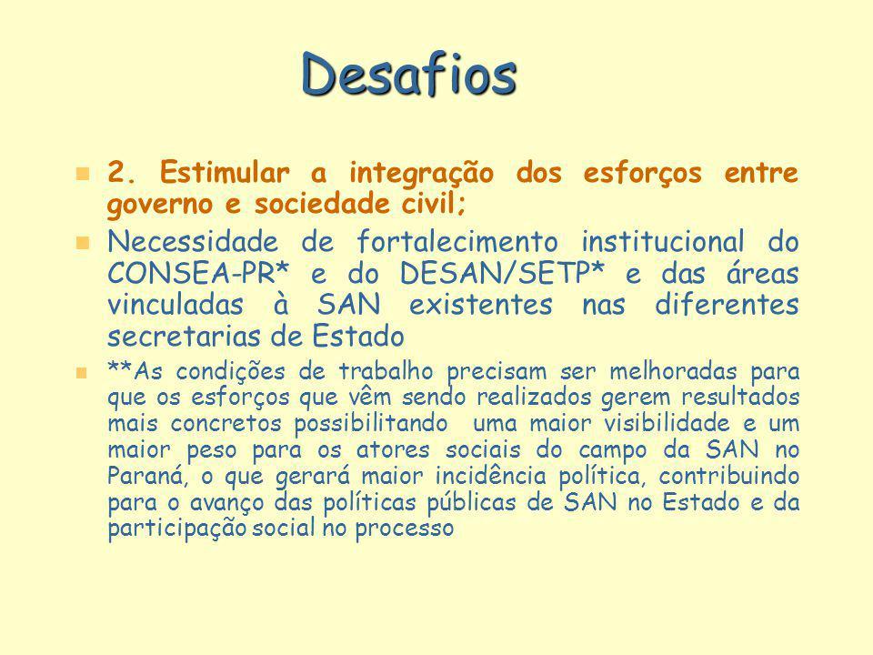 Desafios 2. Estimular a integração dos esforços entre governo e sociedade civil;
