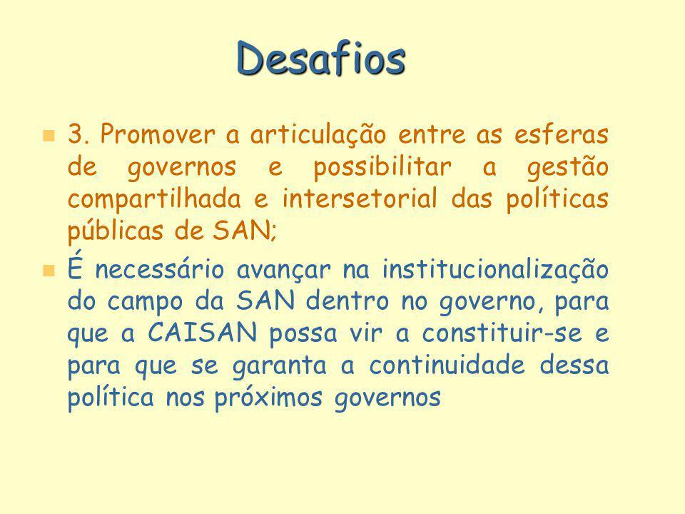 Desafios 3. Promover a articulação entre as esferas de governos e possibilitar a gestão compartilhada e intersetorial das políticas públicas de SAN;