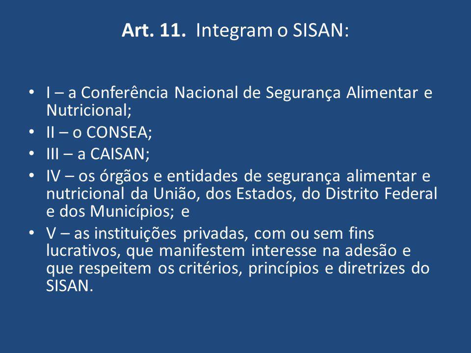 Art. 11. Integram o SISAN: I – a Conferência Nacional de Segurança Alimentar e Nutricional; II – o CONSEA;