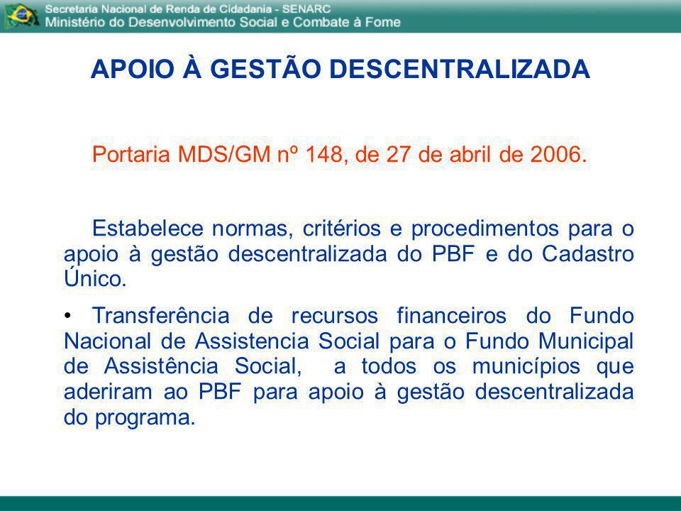 APOIO À GESTÃO DESCENTRALIZADA