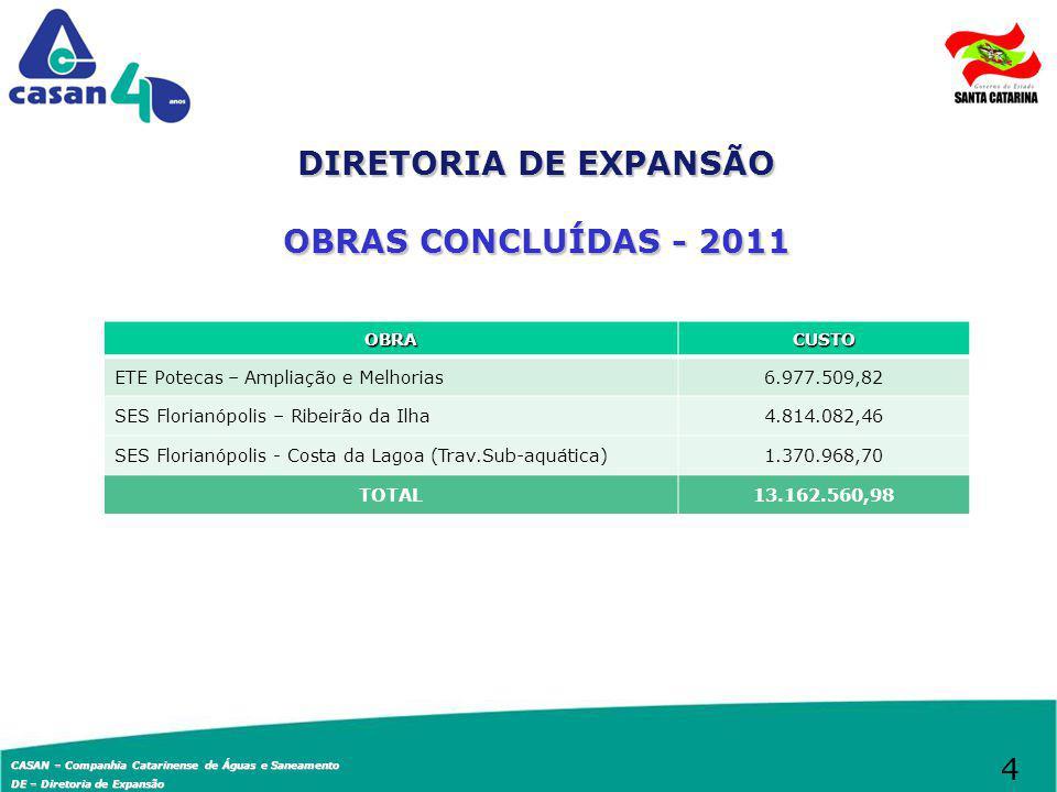DIRETORIA DE EXPANSÃO OBRAS CONCLUÍDAS - 2011