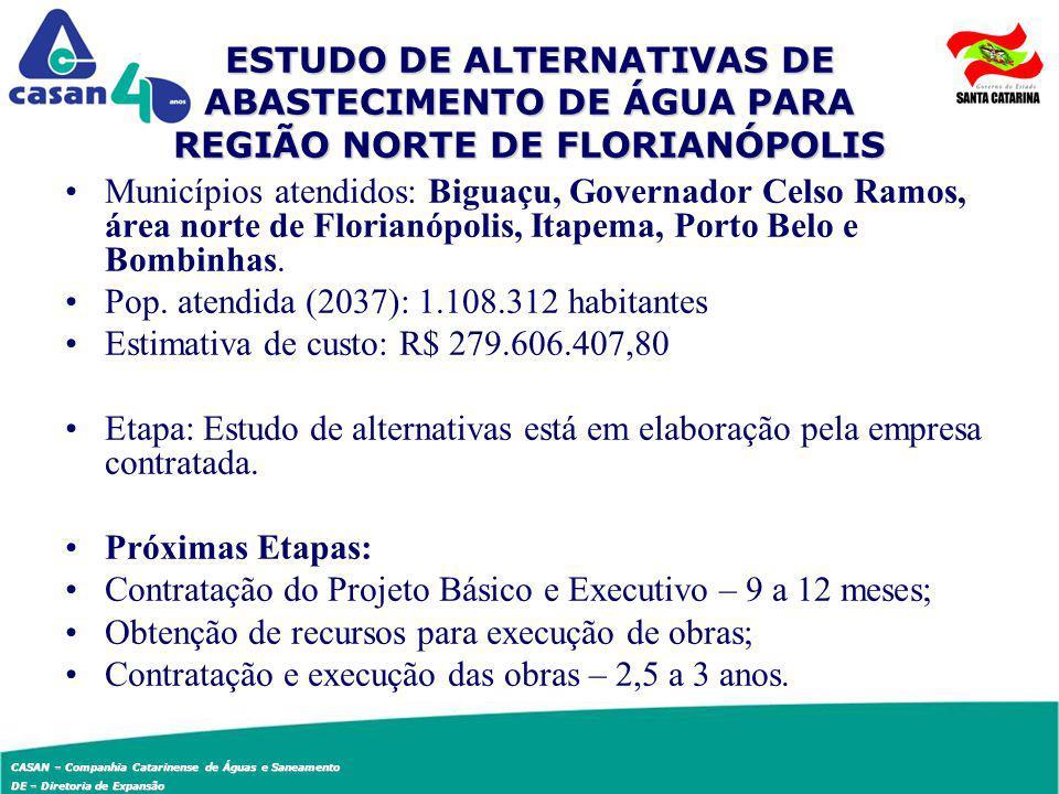 ESTUDO DE ALTERNATIVAS DE ABASTECIMENTO DE ÁGUA PARA REGIÃO NORTE DE FLORIANÓPOLIS