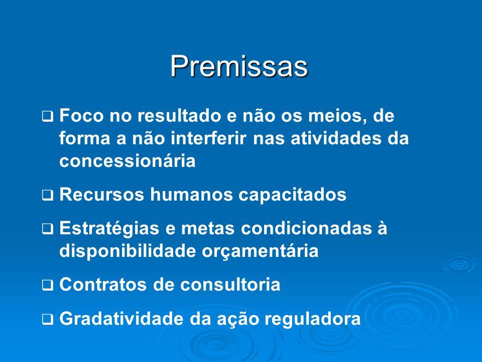 Premissas Foco no resultado e não os meios, de forma a não interferir nas atividades da concessionária.