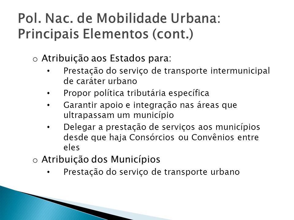 Pol. Nac. de Mobilidade Urbana: Principais Elementos (cont.)