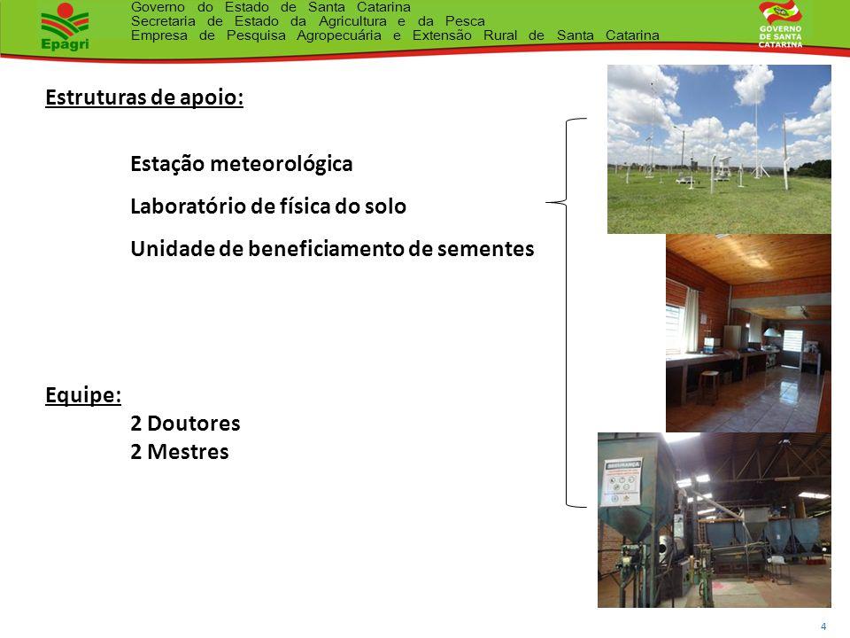 Estruturas de apoio: Estação meteorológica. Laboratório de física do solo. Unidade de beneficiamento de sementes.