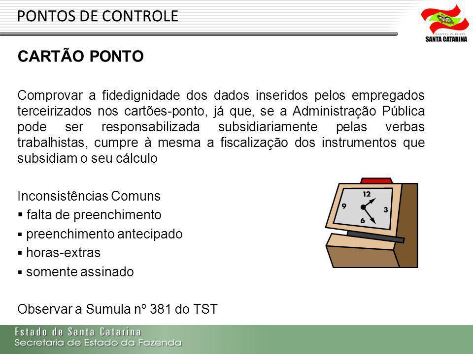 PONTOS DE CONTROLE CARTÃO PONTO