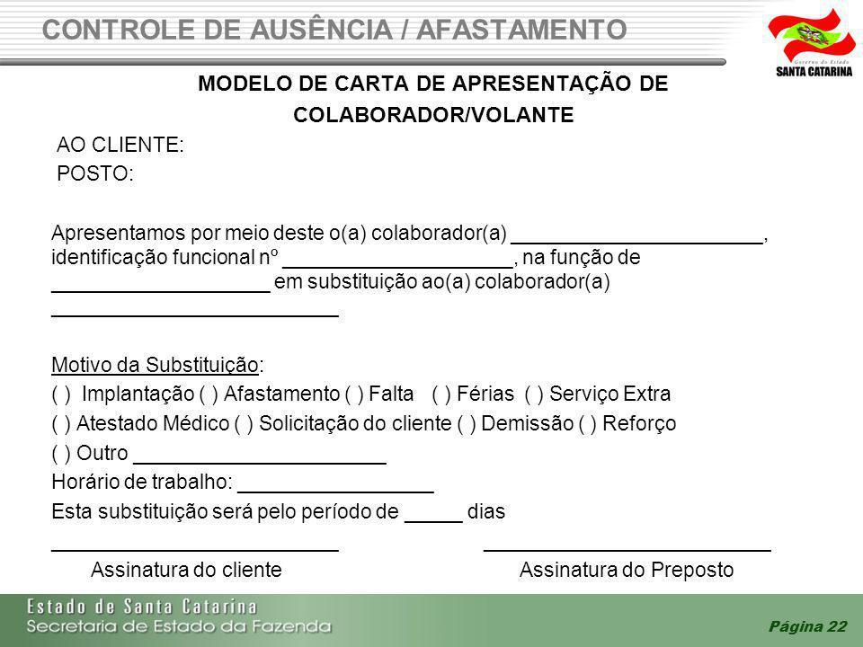 CONTROLE DE AUSÊNCIA / AFASTAMENTO