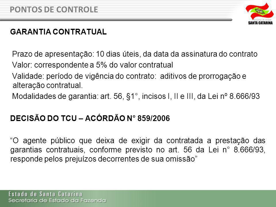 PONTOS DE CONTROLE GARANTIA CONTRATUAL
