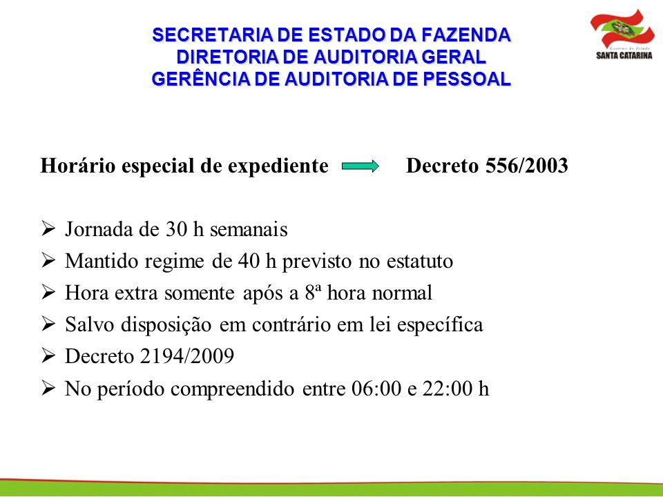 Horário especial de expediente Decreto 556/2003