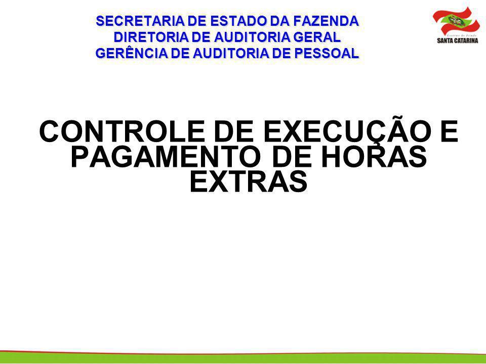 CONTROLE DE EXECUÇÃO E PAGAMENTO DE HORAS EXTRAS