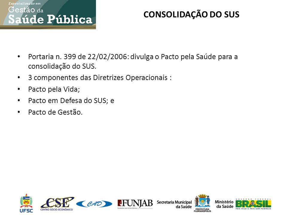 CONSOLIDAÇÃO DO SUS Portaria n. 399 de 22/02/2006: divulga o Pacto pela Saúde para a consolidação do SUS.