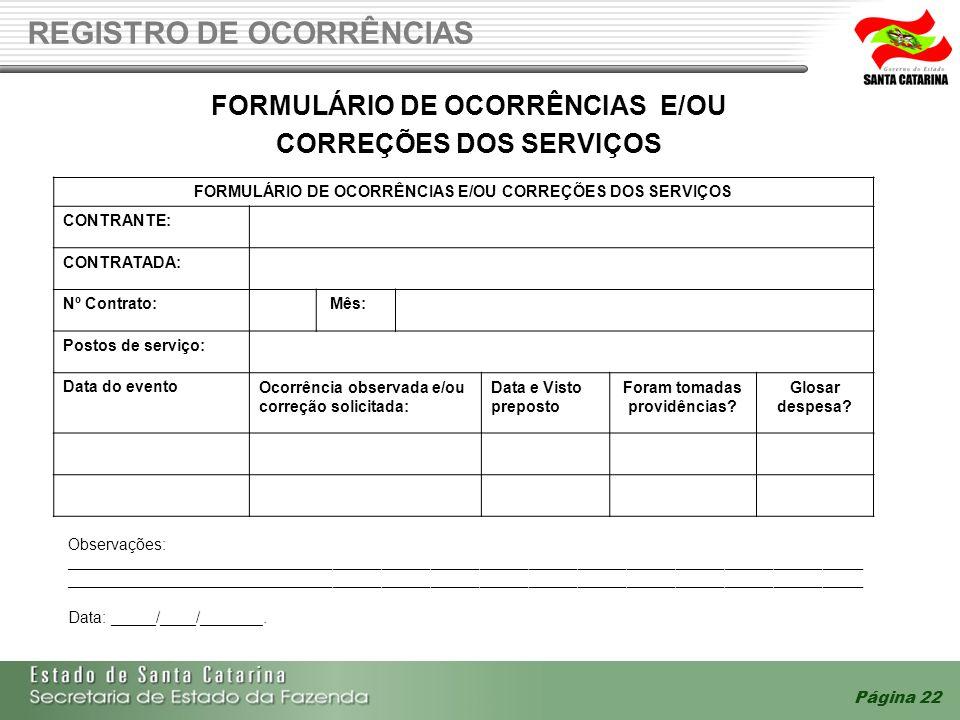 REGISTRO DE OCORRÊNCIAS