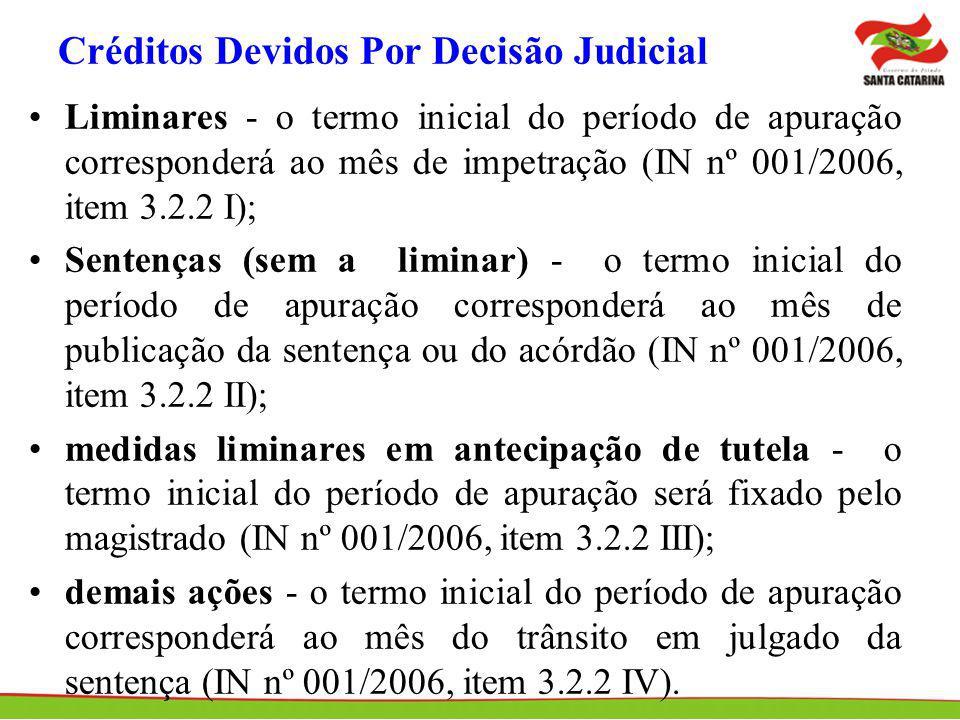 Créditos Devidos Por Decisão Judicial