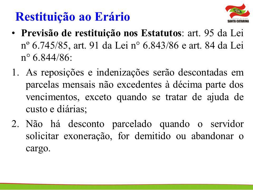 Restituição ao Erário Previsão de restituição nos Estatutos: art. 95 da Lei nº 6.745/85, art. 91 da Lei n° 6.843/86 e art. 84 da Lei n° 6.844/86: