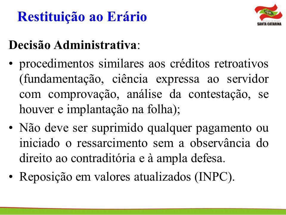 Restituição ao Erário Decisão Administrativa: