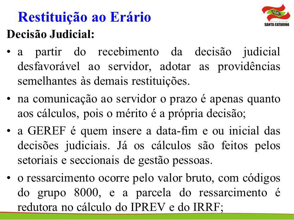 Restituição ao Erário Decisão Judicial: