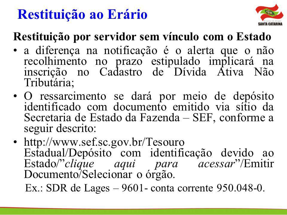 Restituição ao Erário Restituição por servidor sem vínculo com o Estado.