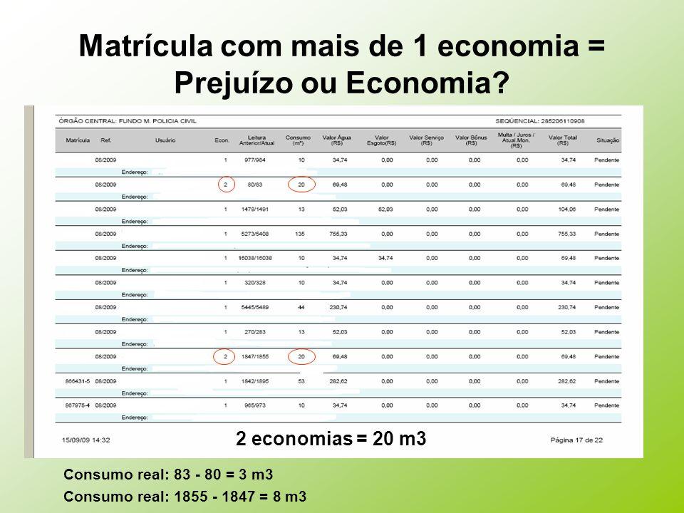 Matrícula com mais de 1 economia = Prejuízo ou Economia