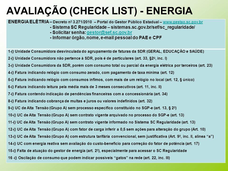 AVALIAÇÃO (CHECK LIST) - ENERGIA