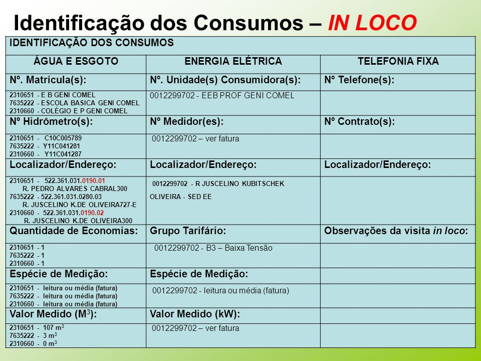 Identificação dos Consumos – IN LOCO