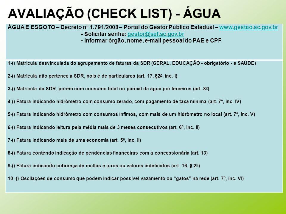 AVALIAÇÃO (CHECK LIST) - ÁGUA
