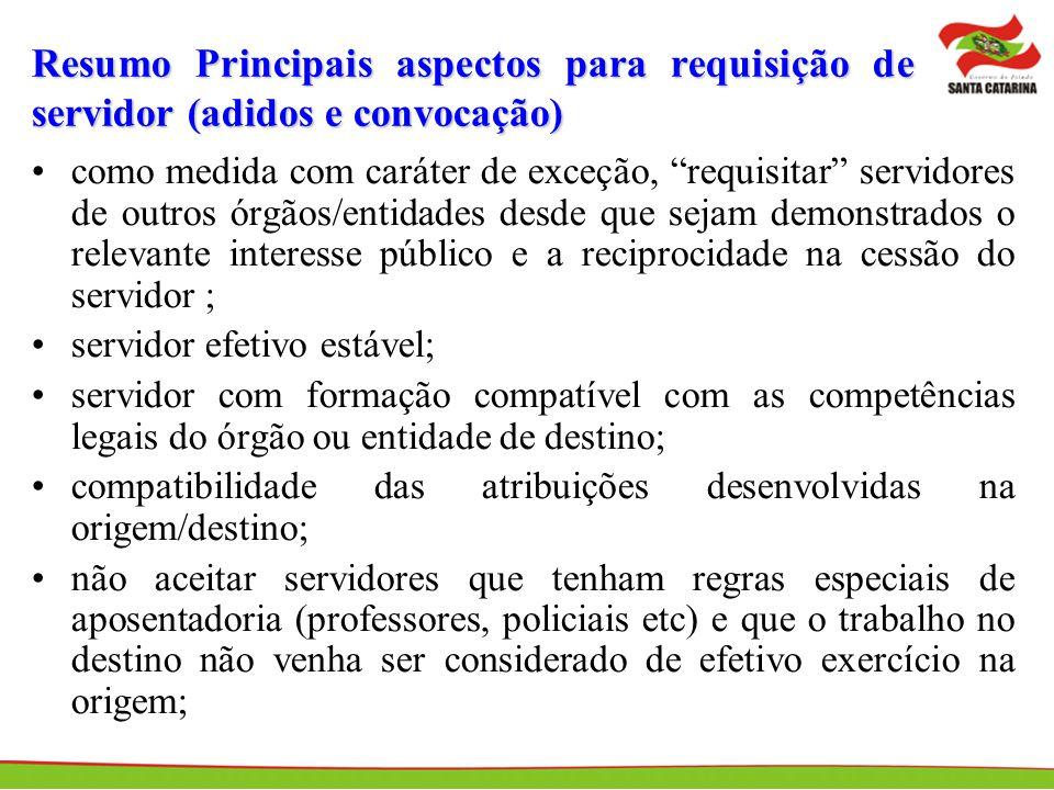 Resumo Principais aspectos para requisição de servidor (adidos e convocação)