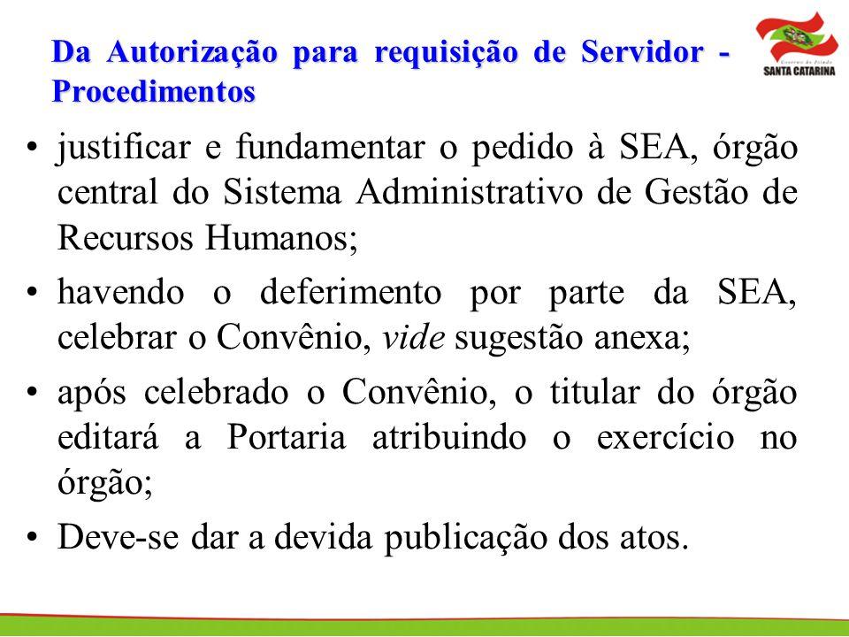 Da Autorização para requisição de Servidor - Procedimentos
