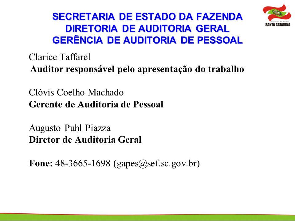 Auditor responsável pelo apresentação do trabalho