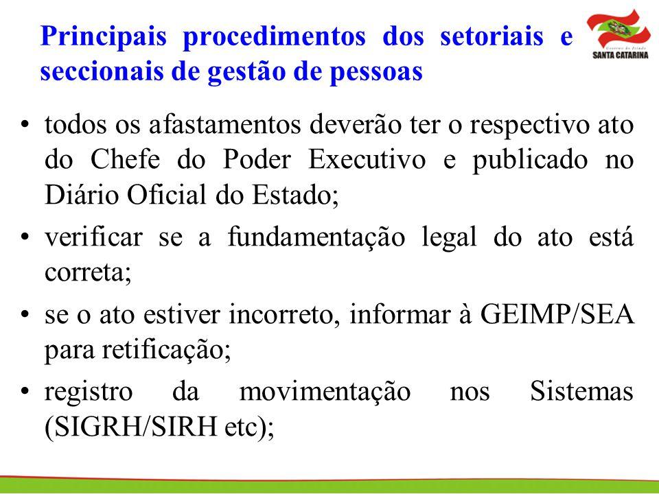 Principais procedimentos dos setoriais e seccionais de gestão de pessoas