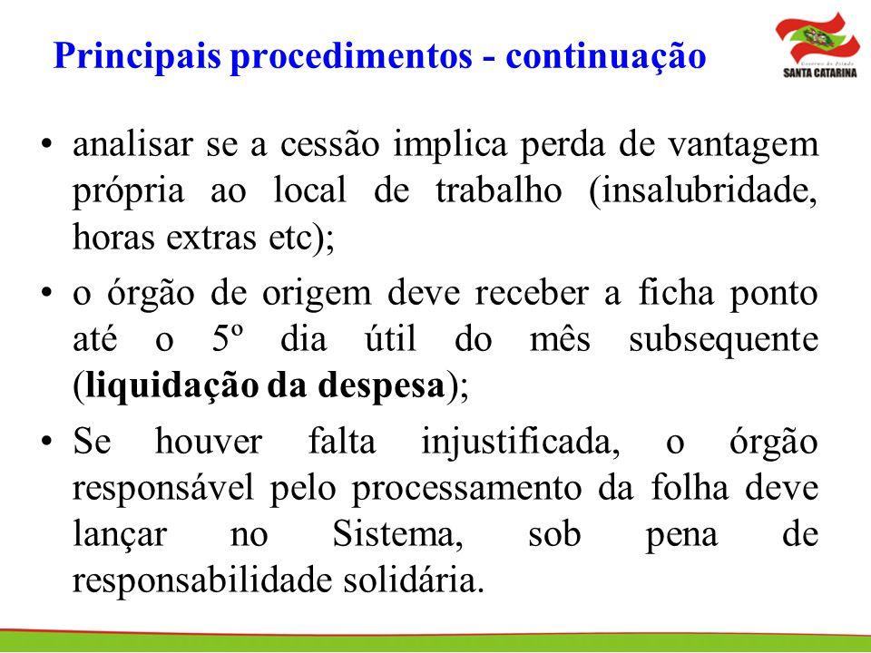 Principais procedimentos - continuação