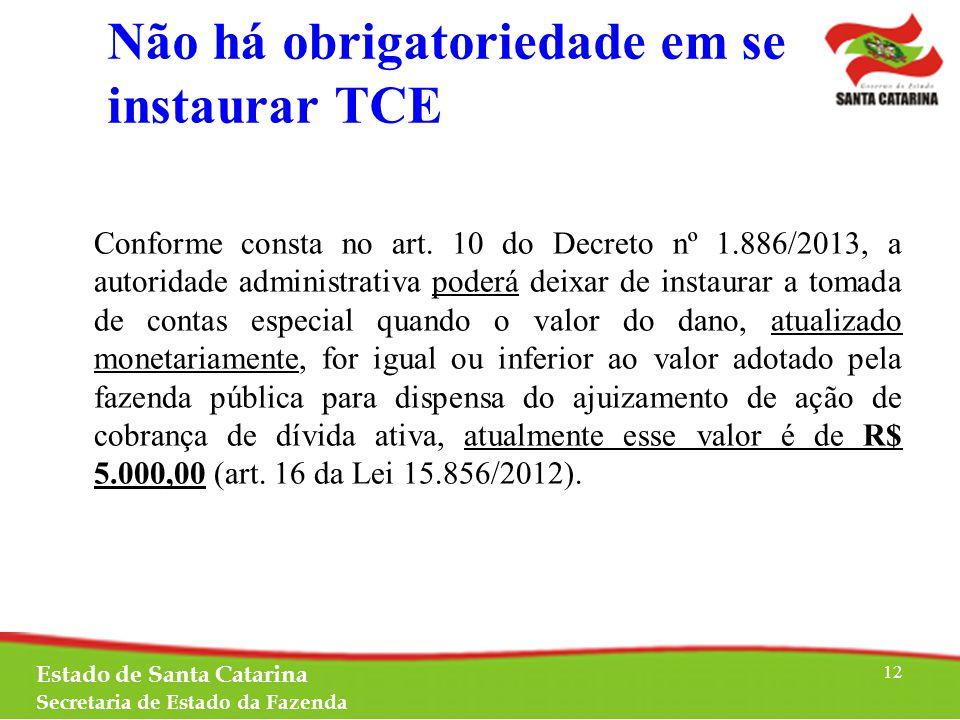 Não há obrigatoriedade em se instaurar TCE